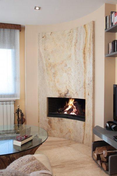 Chimeneas de piedra dise os modernos litosonline - Chimeneas de pared modernas ...